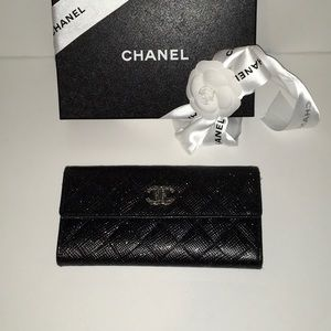 RARE Chanel Pressed Glitter L-Gusset Flap Wallet